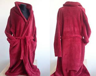 Длинный женский махровый халат без капюшона 2XL, 3XL