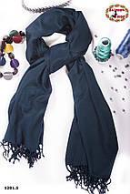 Стильный шарф из пашмины цвет морской волны, фото 3
