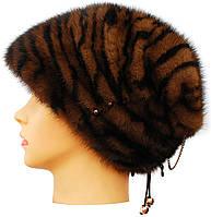 Зимняя норковая шапка женская,Бритни (тигр)
