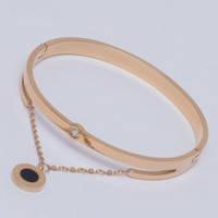 Браслет-кольцо BULGARI G-23 из ювелирной стали с камнем циркония и цепочкой