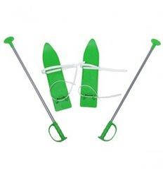 Лижі дитячі пластикові MARMAT з палками 40 см зелені (524321)