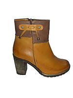 Полусапожки женские деми кожаные на каблуке коричневые Kordel 4600