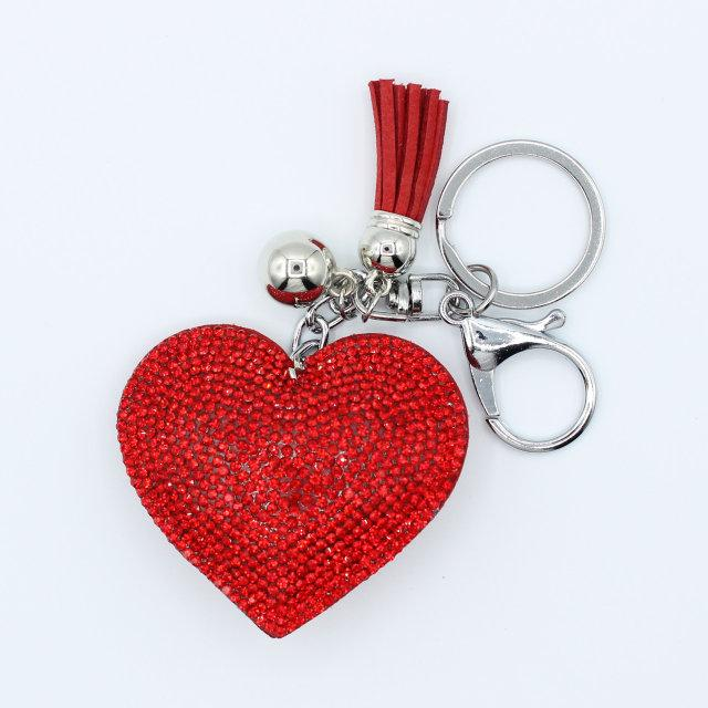 Брелок объемный со стразами Сердце  красный