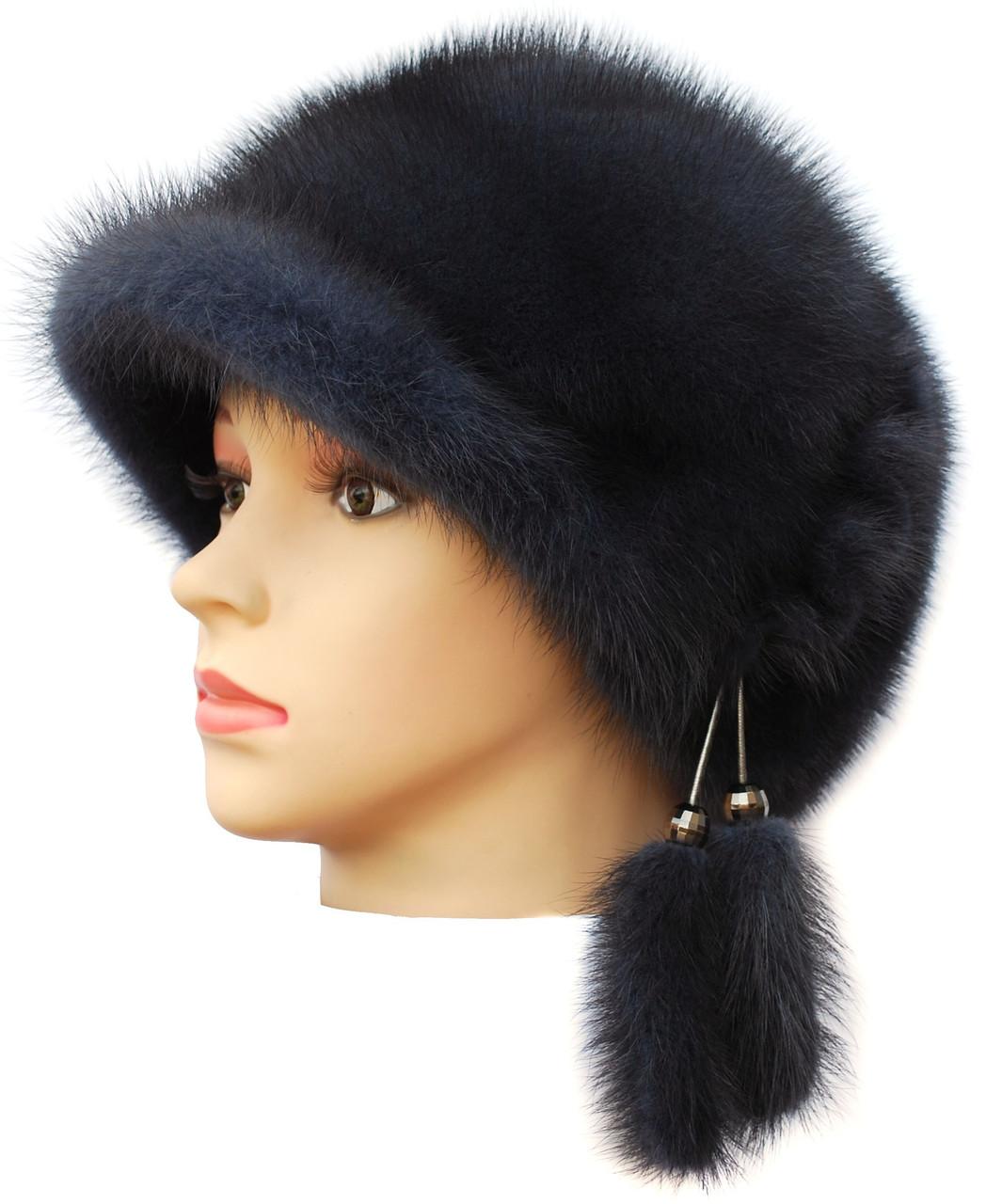 Норковая кепка женская,Жокейка (ирис)