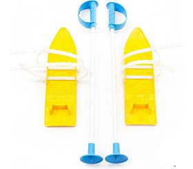 Лижі дитячі пластикові MARMAT з палками 40 см жовті (524321)
