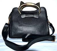 Женская черная маленькая сумочка Кошка с двумя ручками и ремешком 21*16