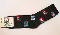 Мужские новогодние махровые носки марки темно-серые