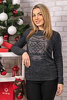 Женский теплый свитер с совой. RBOSSI F12. Размер 42-44.
