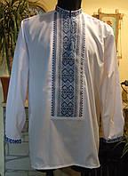 """Чоловіча сорочка-вишиванка """" Синя"""",  на білому попліні, розмір 48-50"""