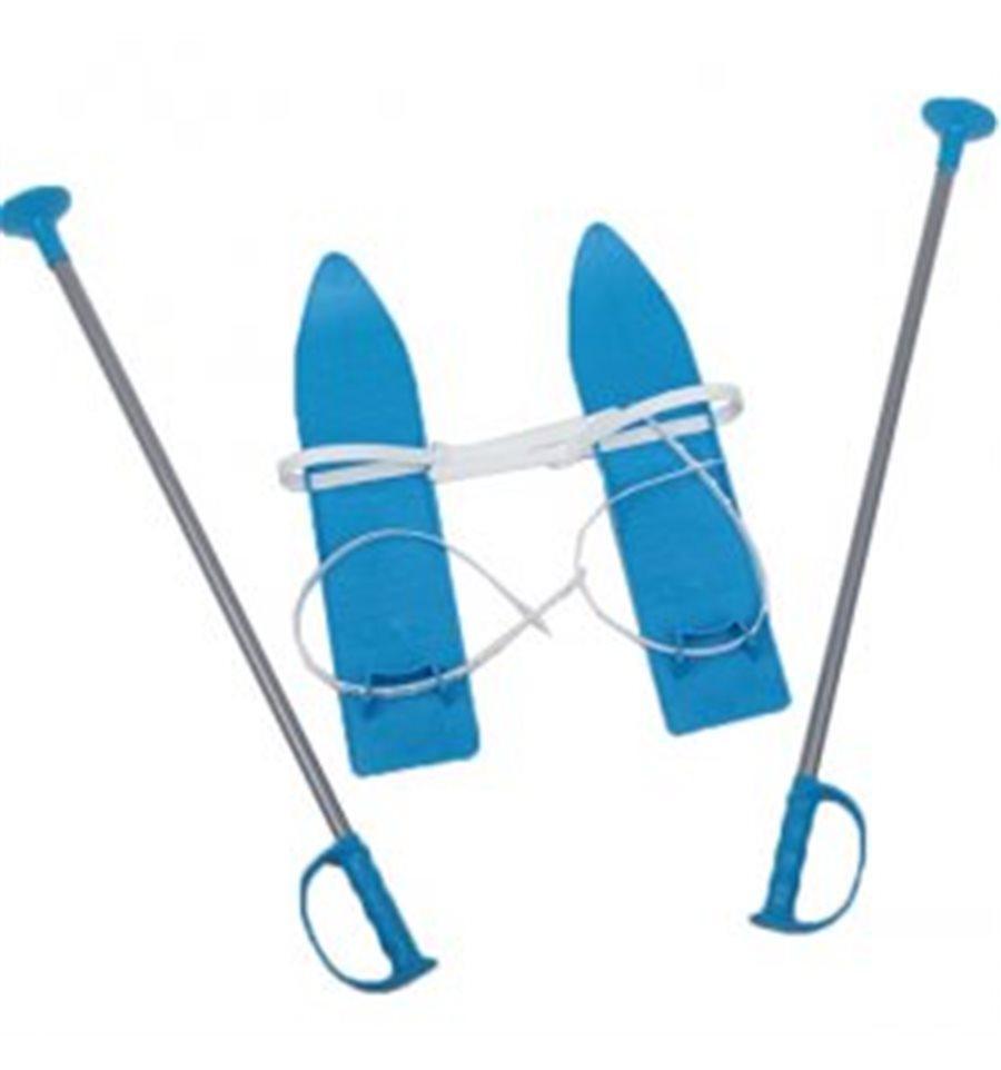 Лижі дитячі пластикові MARMAT з палками 40 см блакитні (524321)