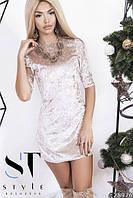 Женское Платье мини велюр
