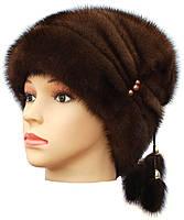 Женская меховая шапка их норки, Буратино (орех), фото 2