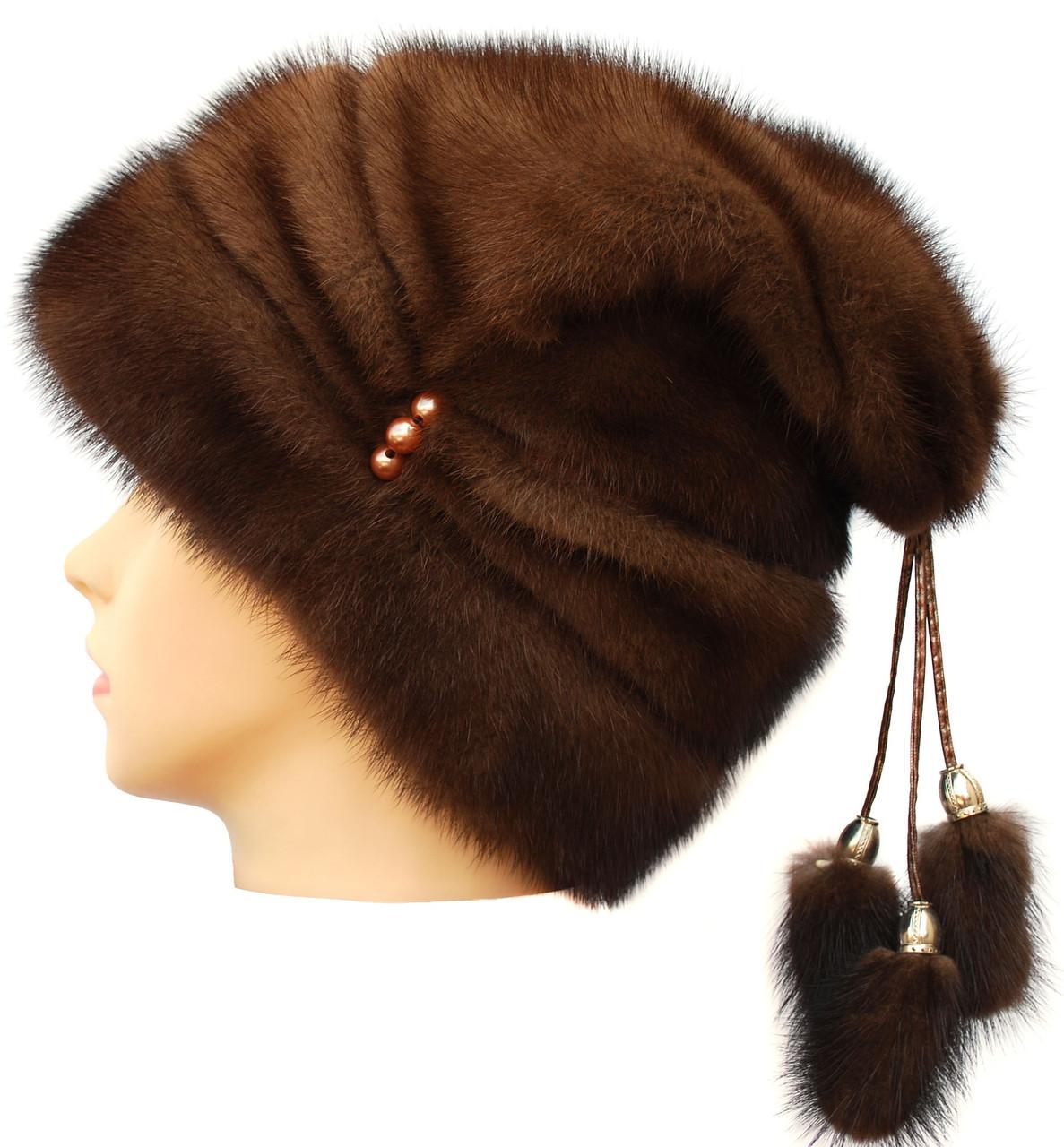 Женская меховая шапка их норки, Буратино (орех)