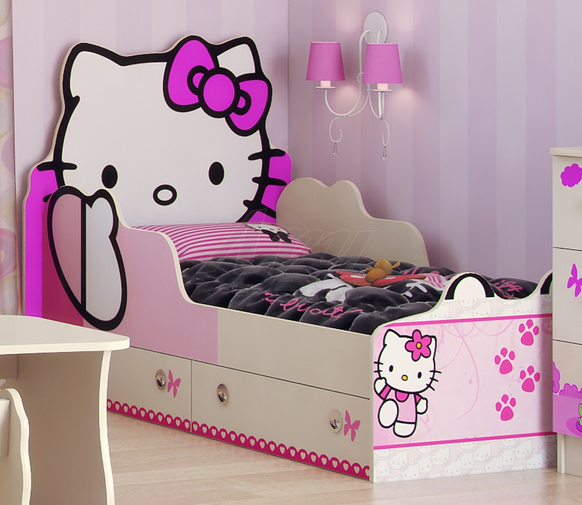 Детская кровать Hello Kitty кроватка Хеллоу Китти