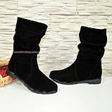 Ботинки черные замшевые на меху, фото 2
