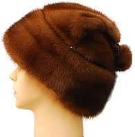 Зимняя шапка женская норковая,Зайчик (орех)
