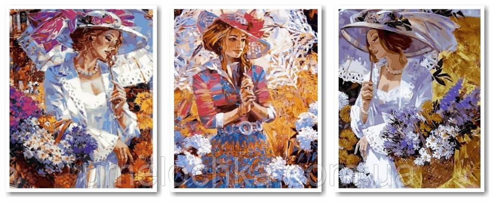 Картина-раскраска DIY Babylon Триптих Кружевные зонтики (VPT017) 50 х 120 см