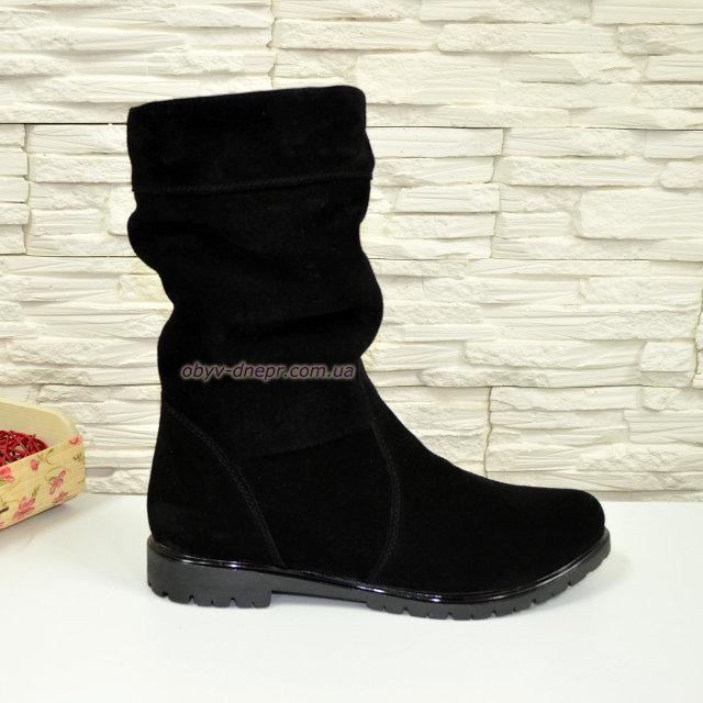 """Женские демисезонные черные ботинки замшевые. ТМ """"Maestro"""""""