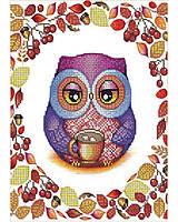 """Набор вышивка бисером """"Сова с кофе"""" А4 (частичная зашивка) 29,2*20,8 см"""