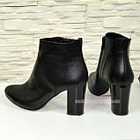 Ботинки женские зимние кожаные на устойчивом каблуке, фото 3