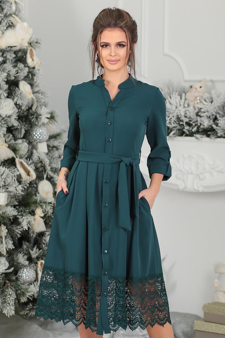 Нарядное темно-зеленое Платье Элнора
