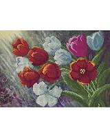 """Набор вышивка бисером """"Тюльпаны"""" А4 (частичная зашивка) 29,2*20,8 см"""