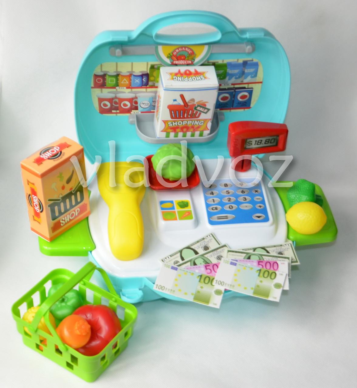 фото игрушки детской касса игрушечная набор магазин в чемоданчике игровая с сканером вид с переди