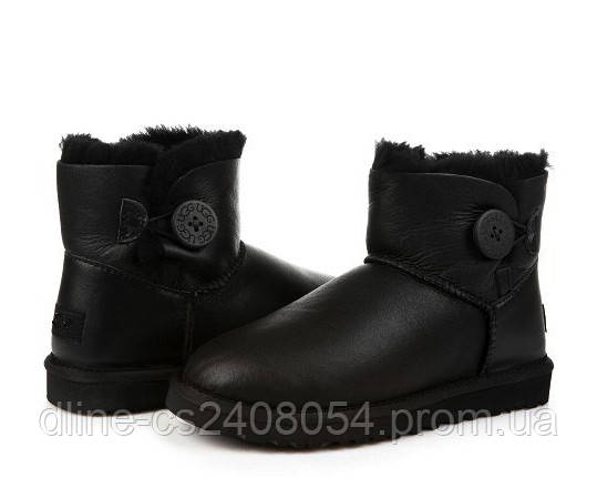 UGG Mini Bailey Button Black Leather