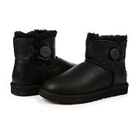 UGG Mini Bailey Button Black Leather, фото 1