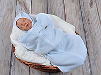 """Утепленная пеленка-кокон для мальчика на молнии """"Капитоне"""", голубая , 0-3 и 3-6 мес"""