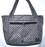 Женская серая стеганная сумка с передним карманом на молнии 38*32