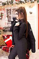 Женский теплый зимний горнолыжный костюм: куртка с отстегивающимся капюшоном и комбинезон на синтепоне, черный