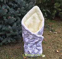 """Конверт-одеяло для новорожденных на выписку и в коляску на меху """"Совушка"""""""