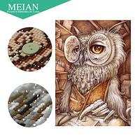 Алмазная вышивка Филин в очках  16*24, сова, круглые алмазики полное заполнение