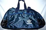 Маленькие синие спортивные дорожные сумки Адидас с цветными вставками 40*21 (в ассортименте), фото 2