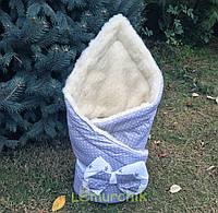 """Конверт-одеяло для новорожденных на выписку и в коляску на меху """"Горошек"""""""