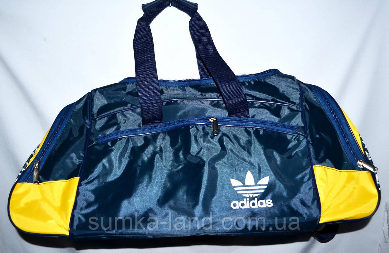 Маленькие синие спортивные дорожные сумки Адидас с цветными вставками 40*21 (в ассортименте)