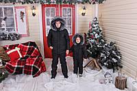 Зимний детский костюм двойка(куртка и комбинезон) с песцовым воротником на синтепоне 200, черный с красным