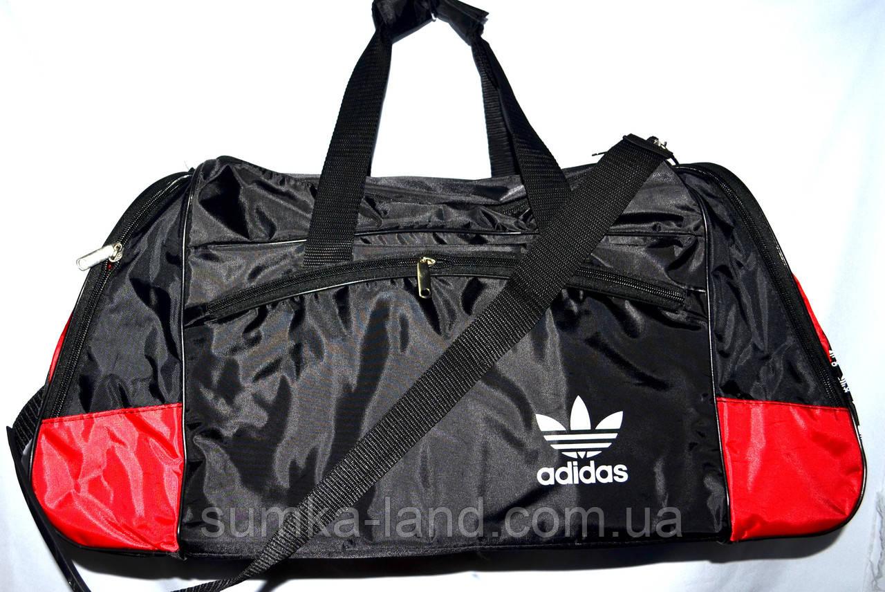 Большая черная спортивная дорожная сумка Адидас с цветными вставками 50*26 (в ассортименте)