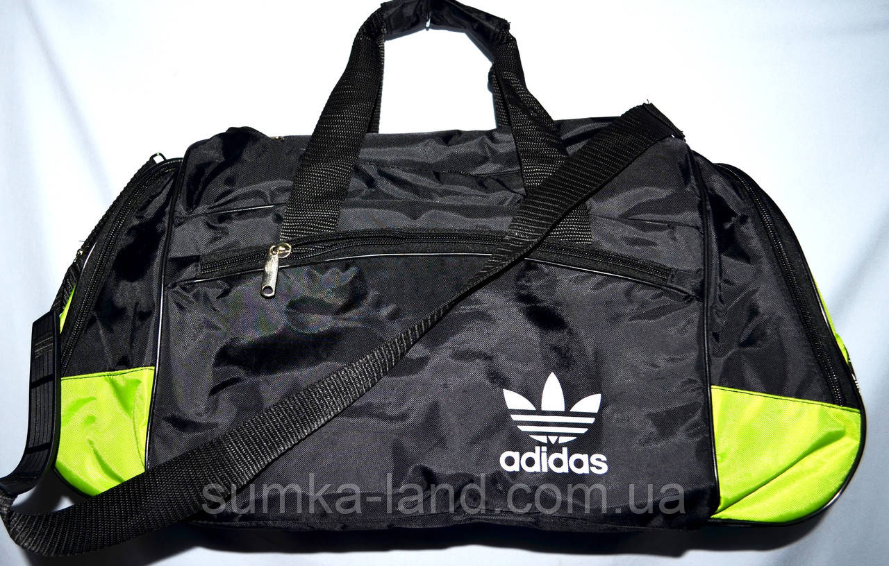 7423526a72d8 Маленькие черные спортивные дорожные сумки Адидас с цветными вставками  40*21 см (в ассортименте