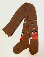 Теплые колготки коричневого цвета с лисенком