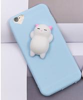 Голубой с белым котом для айфон 5/5s силикон