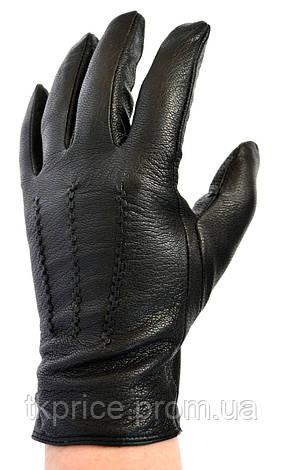 Мужские кожаные перчатки из оленьей кожи на меху кролика, фото 2