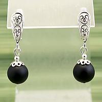 Бяньши черный нефрит, серебро, серьги, 296СРБ