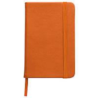 Записная книжка, белый блок в линейку, кожзам, оранжевая