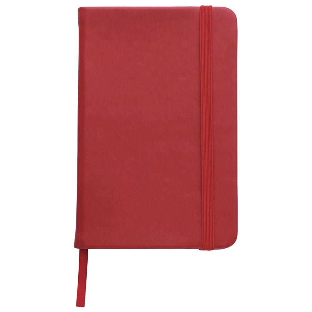 Записная книжка, белый блок в линейку, кожзам, красный