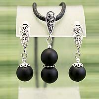 Бяньши чорний нефрит, срібло, комплект кулон і сережки, 042КМБ