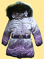 Пальто зимнее детское для девочки, серо-сиреневое, 116 см