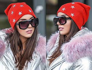 Зимняя шапка с серебристыми звездами , женские зимние вязаные шапки оптом от производителя