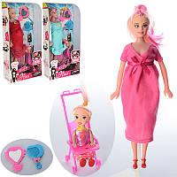 Лялька 6026E вагітна, дочка, пупс, коляска, аксесуари, мікс видів, кор., 15-31,5-6 см.
